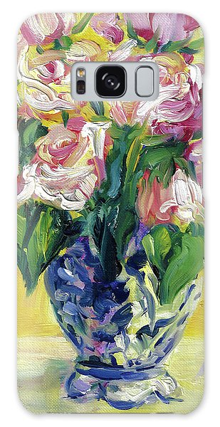 Pink Roses In Blue Deft Vase Galaxy Case