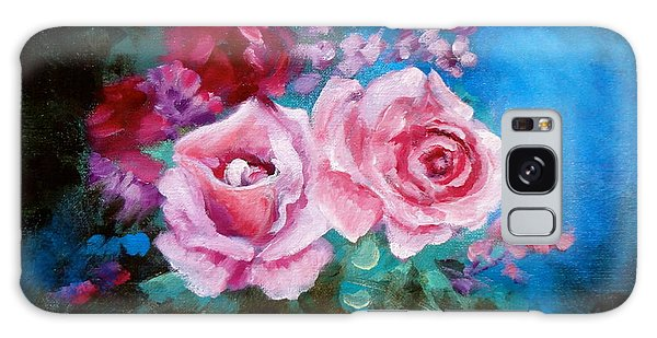 Pink Roses On Blue Galaxy Case by Jenny Lee