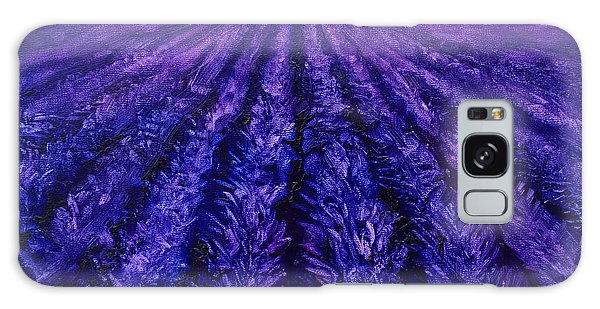 Abstract Lavender Field Landscape - Contemporary Landscape Painting - Amethyst Purple Color Block Galaxy Case