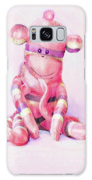 Pink Sock Monkey Galaxy Case by Jane Schnetlage