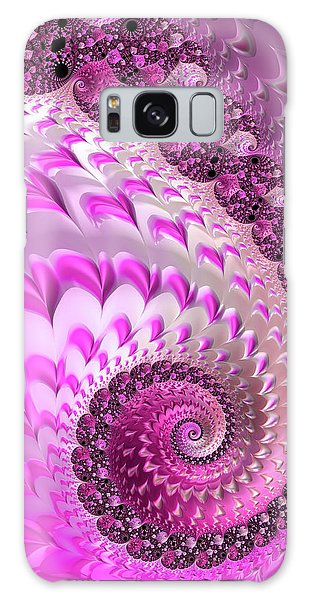 Pink Spiral With Lovely Hearts Galaxy Case