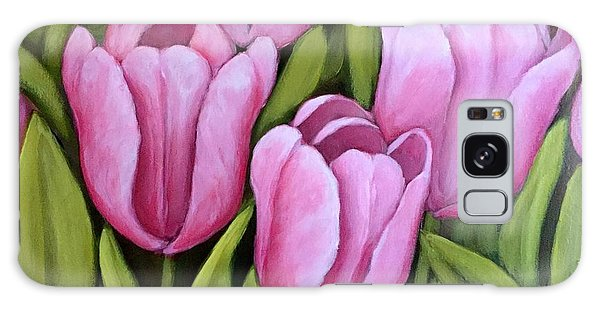 Pink Spring Tulips Galaxy Case