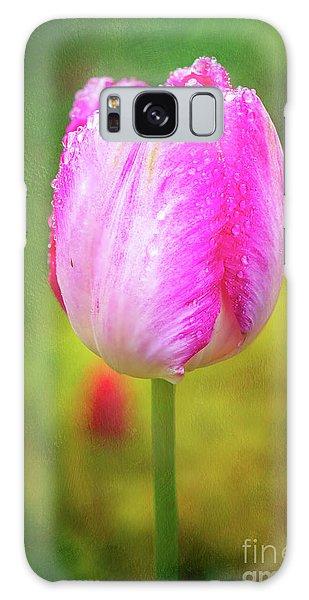 Pink Tulip In The Rain Galaxy Case
