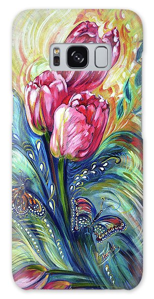 Pink Tulips And Butterflies Galaxy Case by Harsh Malik