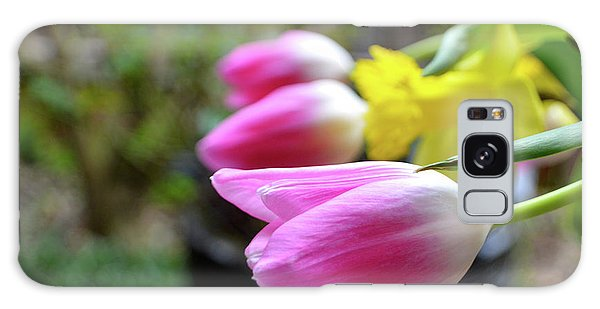 Pink Tulips Row Galaxy Case