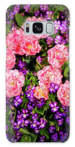 Pink Tulips With Purple Flowers Galaxy Case