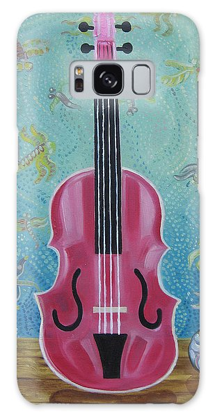 Pink Violin With Fireflies And Shells Still Life Galaxy Case by John Keaton