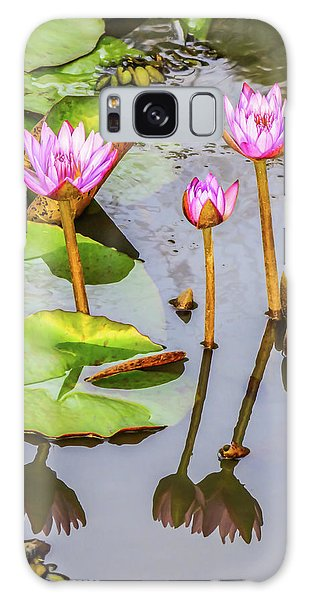 Pink Water Lilies In A Pond Galaxy Case
