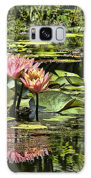 Galaxy Case featuring the photograph Pink Water Lily Reflections by Bill Barber