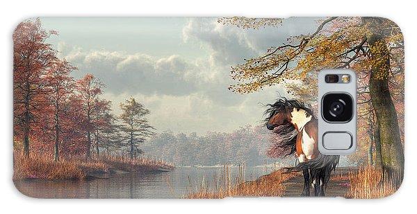 Pinto Horse On A Riverside Trail Galaxy Case by Daniel Eskridge