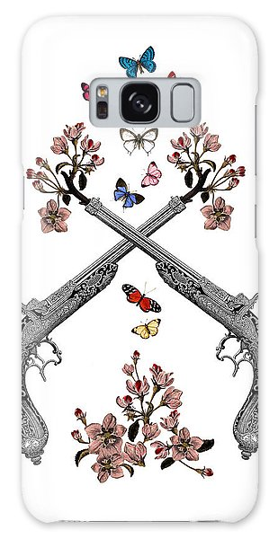Weapons Galaxy Case - Pistols Wit Flowers And Butterflies by Madame Memento