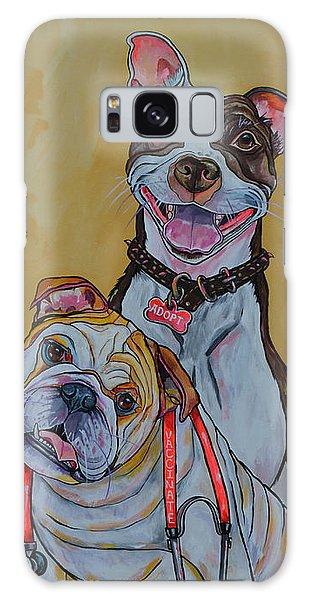 Pitbull And Bulldog Galaxy Case by Patti Schermerhorn