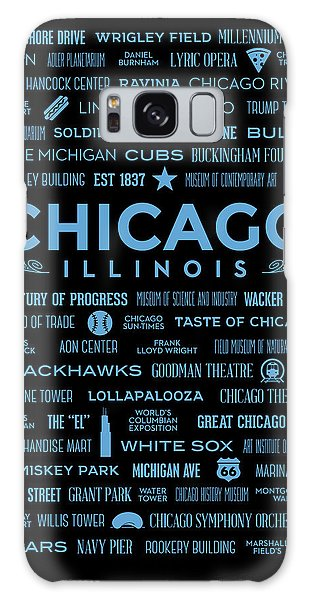 Galaxy Case featuring the digital art Places Of Chicago Blue On Black by Christopher Arndt
