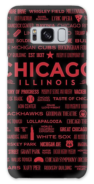 Galaxy Case featuring the digital art Places Of Chicago On Red On Black by Christopher Arndt
