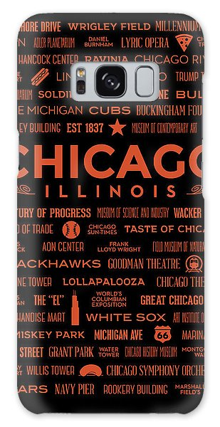 Galaxy Case featuring the digital art Places Of Chicago Orange On Black by Christopher Arndt