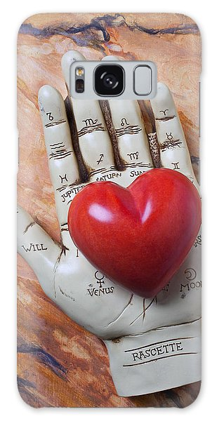 Stone Galaxy Case - Plam Reader Hand Holding Red Stone Heart by Garry Gay