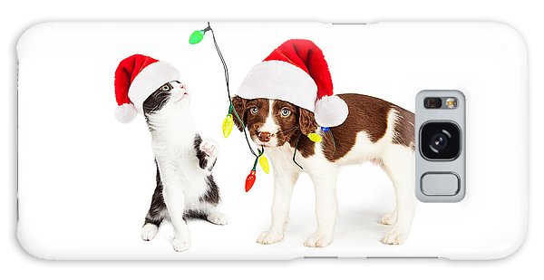 Playful Christmas Kitten And Puppy Galaxy Case