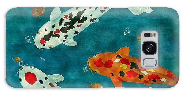 Playful Koi Fishes Original Acrylic Painting Galaxy Case