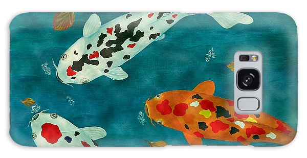 Playful Koi Fishes Original Acrylic Painting Galaxy Case