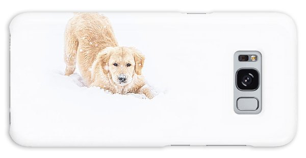 Playful Puppy In So Much Snow Galaxy Case