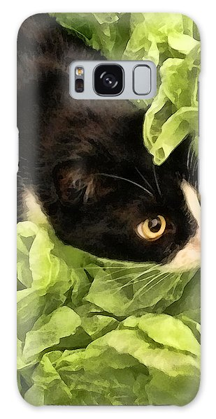 Playful Tuxedo Kitty In Green Tissue Paper Galaxy Case