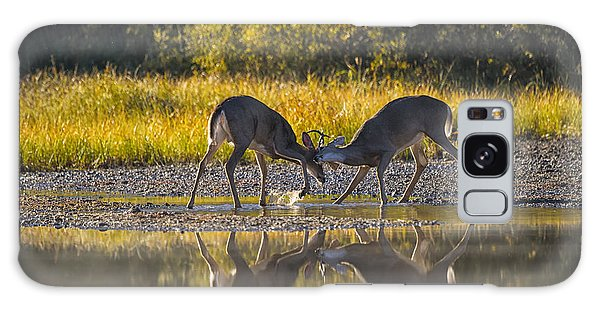 White-tailed Deer Galaxy Case - Playful Young Bucks by Mark Kiver