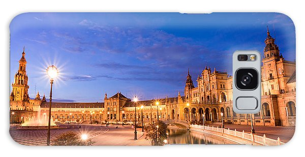 Town Square Galaxy Case - Plaza De Espana At Night by Delphimages Photo Creations