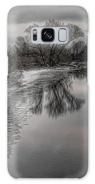 Plover River Black And White Winter Reflections Galaxy Case