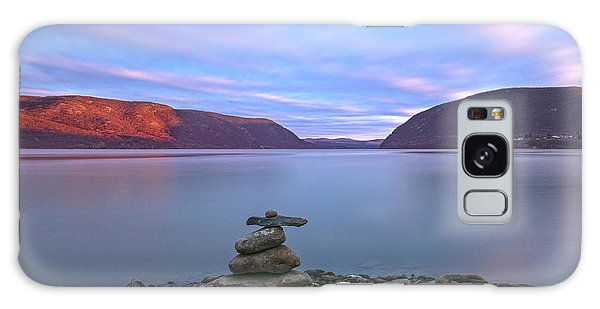 Plum  Point Rock Cairn At Sunset Galaxy Case by Angelo Marcialis