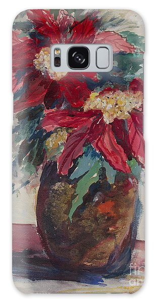 Poinsettias In A Brown Vase Galaxy Case