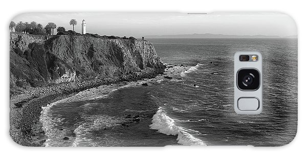 Point Vicente Lighthouse Palos Verdes California - Black And White Galaxy Case