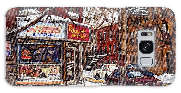 Pointe St Charles Montreal Winter Scene Painting Paul Patates Restaurant At Coleraine And Charlevoix Galaxy Case