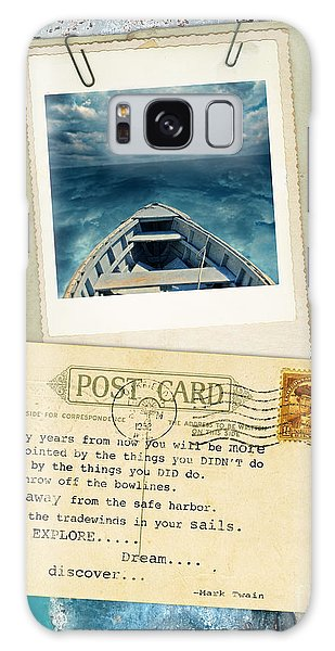 Poloroid Of Boat With Inspirational Quote Galaxy Case by Jill Battaglia