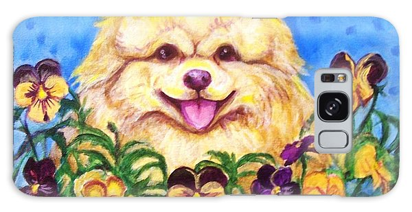 Pomeranian With Pansies Galaxy Case