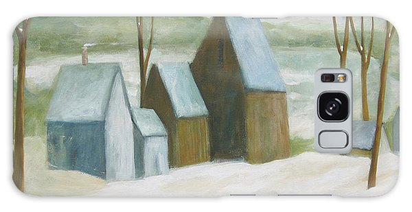 Pond Farm In Winter Galaxy Case