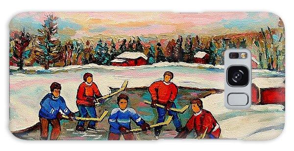 Pond Hockey Countryscene Galaxy Case by Carole Spandau