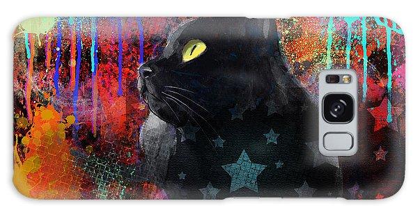 Pop Art Black Cat Painting Print Galaxy Case
