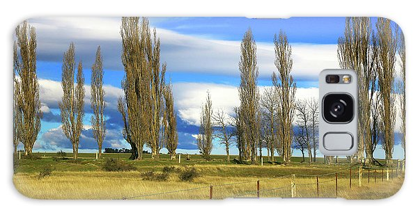 Poplars,fence And Grasses Galaxy Case