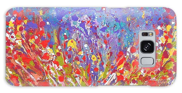 Poppies Abstract Meadow Painting Galaxy Case