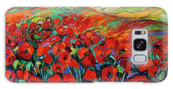 Poppies And Cypresses - Modern Impressionist Palette Knives Oil Painting Galaxy Case