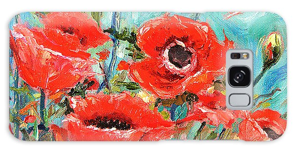 Poppies Delight Galaxy Case by Jennifer Beaudet