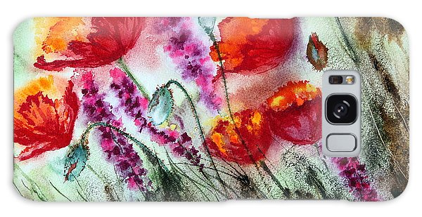 Poppies In The Wind Galaxy Case by Maria Barry
