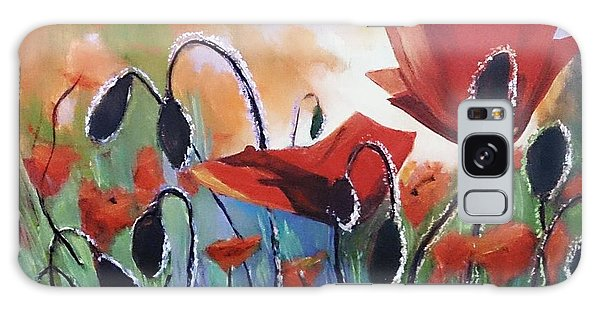 Poppies Galaxy Case by Kathy  Karas