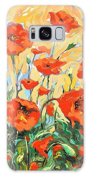 Poppies On A Yellow            Galaxy Case
