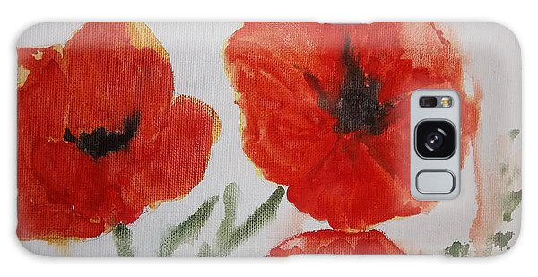 Poppies On Linen Galaxy Case