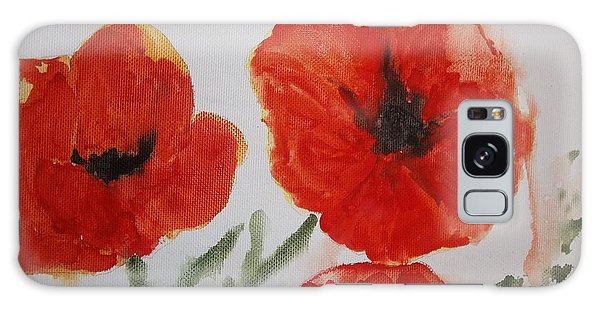 Poppies On Linen Galaxy Case