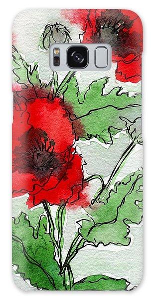 Watercolor Poppies Galaxy Case