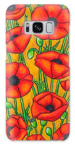 Poppies Under The Tuscan Sun Galaxy Case