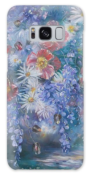 Poppies, Wisteria And Marguerites Galaxy Case
