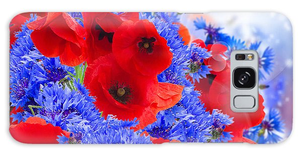 Poppy And Cornflower Flowers Galaxy Case